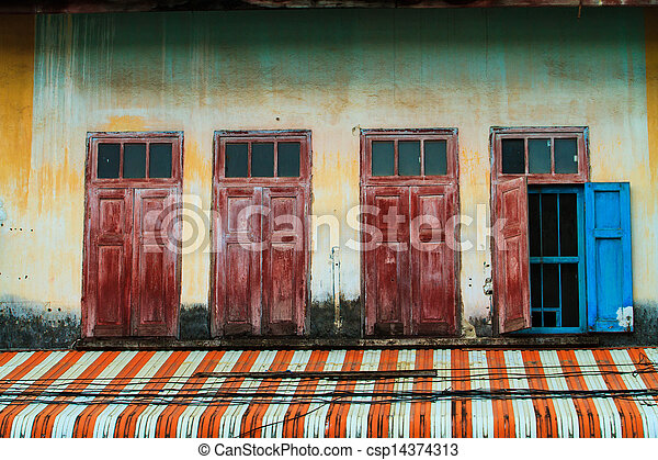 Window of a old wooden house - csp14374313