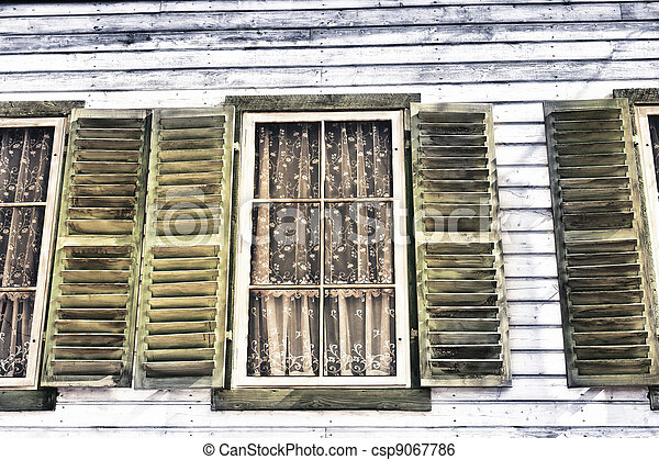 Window of a old wooden house - csp9067786