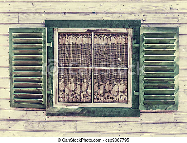 Window of a old wooden house - csp9067795