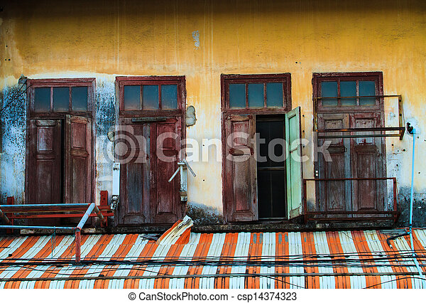 Window of a old wooden house - csp14374323