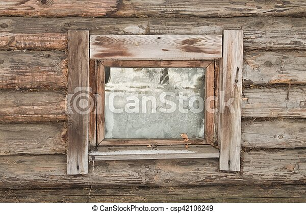 Window of a old wooden house - csp42106249
