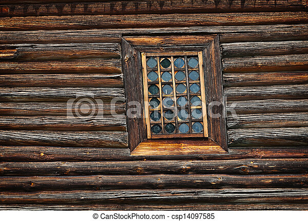 Window old wooden church built of - csp14097585