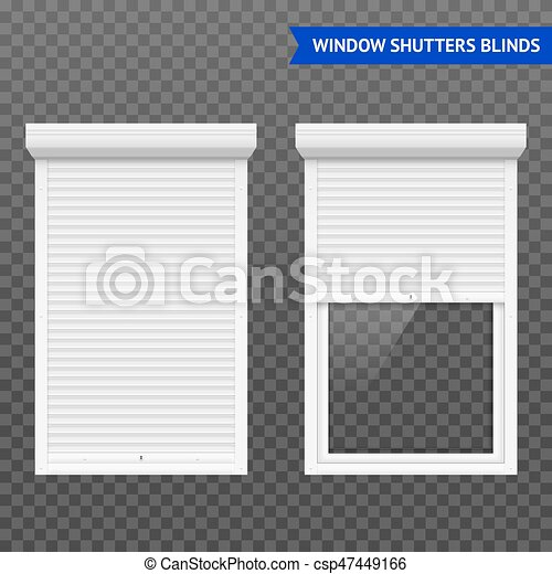 Window Roller Shutters Set In Closed And Open Form White