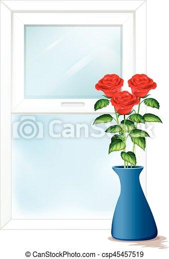 Window Scene With Roses In Vase Illustration