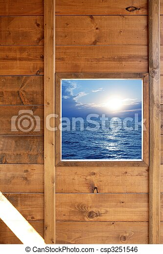 Window seascape view from wooden room - csp3251546