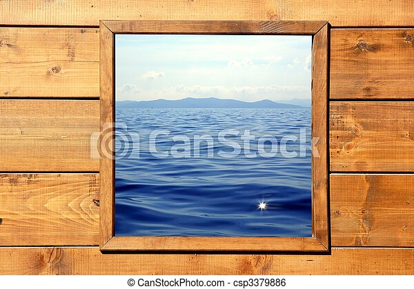 Window seascape view from wooden room - csp3379886