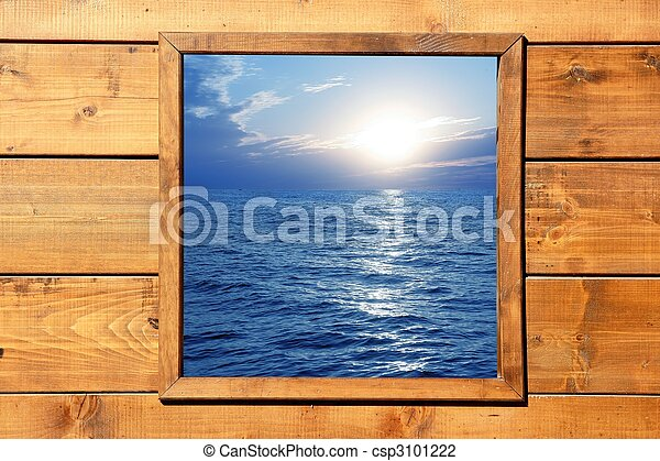 Window seascape view from wooden room - csp3101222