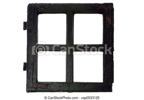 Very old window frame isolated on white.