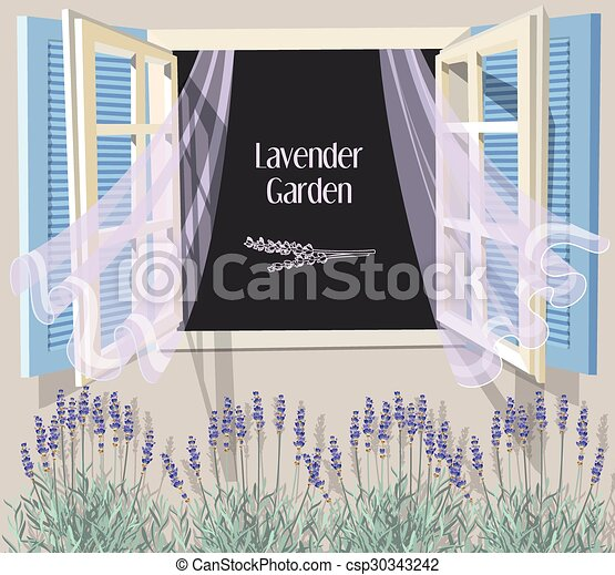 Window with blue shutters - csp30343242