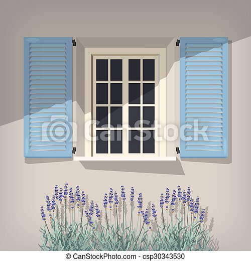 Window with blue shutters - csp30343530