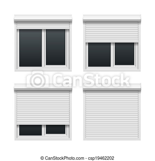 Window with roller shutters - csp19462202