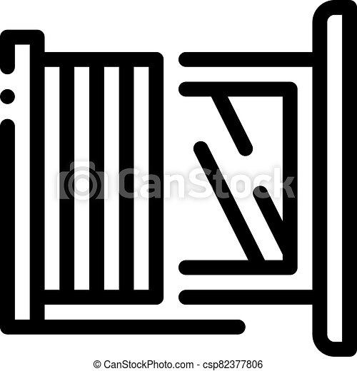 window with shutters icon vector outline illustration - csp82377806