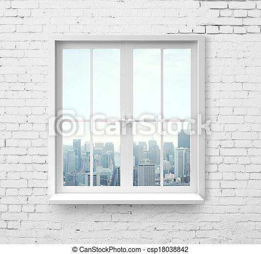 window with skyscraper view - csp18038842