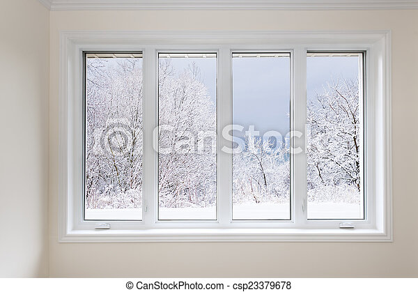 Window with view of winter trees - csp23379678