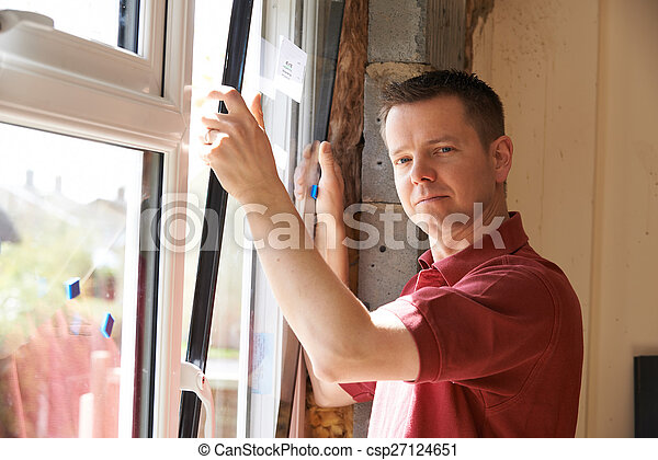 windows, épület, munkás, beiktató, szerkesztés, új - csp27124651