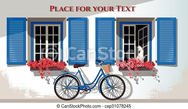 windows and bicycle illustration of windows with shutters and bicycle rh canstockphoto com Car Clip Art Bike Riding Clip Art