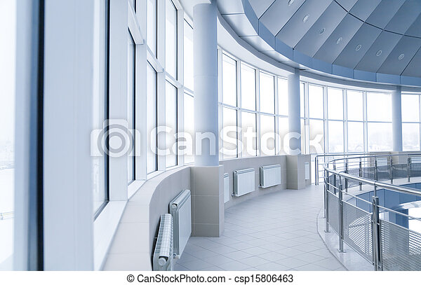 windows and columns in the rounded interior of modern office building - csp15806463