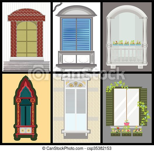 Windows And Door Vector Set Colors Design  sc 1 st  Can Stock Photo & Windows and door vector set colors design clipart vector - Search ...
