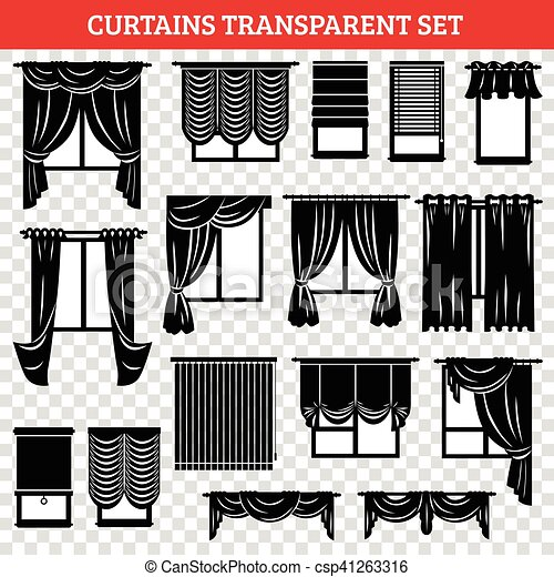 Windows Black Silhouettes With Curtains And Jalousie