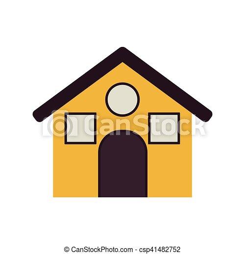 Casa amarilla con roff y ventanas - csp41482752