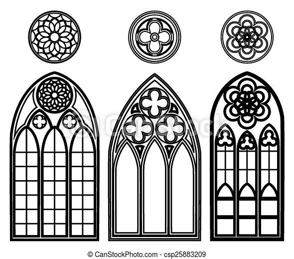 windows, cattedrali, gotico , csp25883209