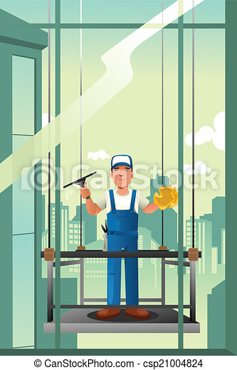 Windows cleaner of high rise buildings - csp21004824
