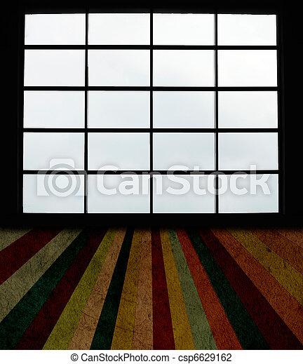 windows, groß, grunge, plankenboden - csp6629162