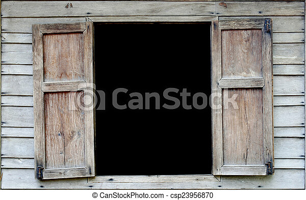 Viejas ventanas de madera - csp23956870