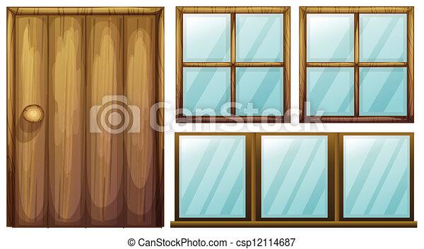 Una puerta y ventanas - csp12114687