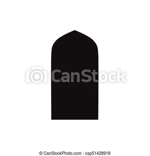 Ventanas de arco árabe y puertas, siluetas vectoriales - csp51428918