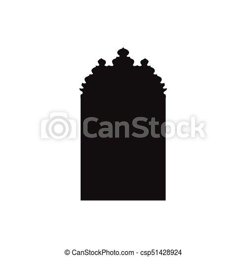 Ventanas de arco árabe y puertas, siluetas vectoriales - csp51428924