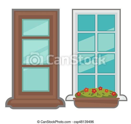 Una colección de ventanas de varios tipos. - csp48139496