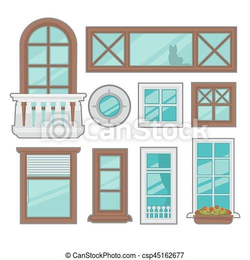 Una colección de ventanas de varios tipos. - csp45162677