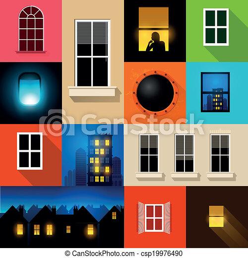 Colección de ventanas vectoriales - csp19976490