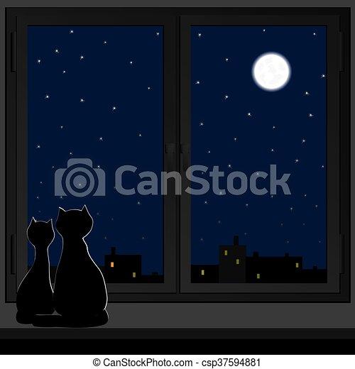 Dos gatos sentados en una ventana. - csp37594881