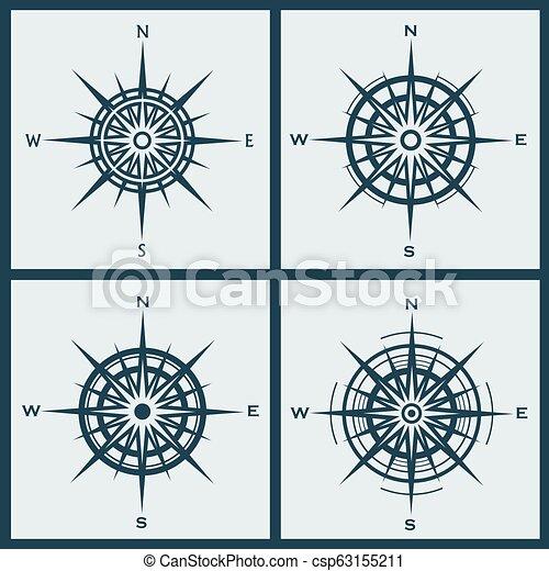 windroses, roses, ensemble, ou, compas - csp63155211