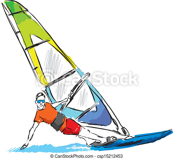 Windsurf Illustration Clipart Vector