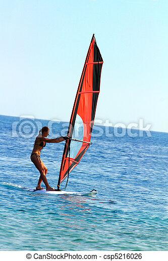 windsurf, -, menina, surfista - csp5216026