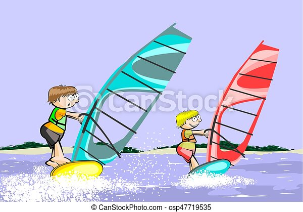 Windsurf Summer Cartoon Conceptual Vector Illustration Vectors