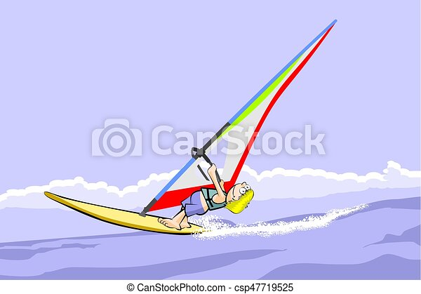 Windsurf Summer Cartoon Conceptual Vector Illustration