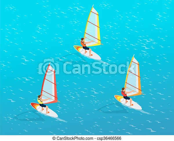 Windsurfer On A Board For Windsurfing Creative Vacation Concept Water Sports Fun In