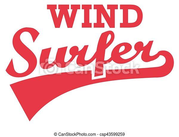 Windsurfer retro word - csp43599259