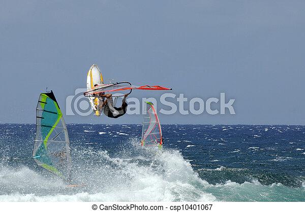 Windsurfers At Hookipa Beach Park,