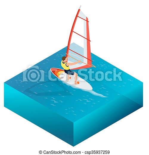 Windsurfing Fun In The Ocean Extreme Sport Icon Flat 3d Vector Isometric