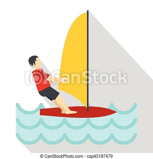Windsurfing Icon Flat Style