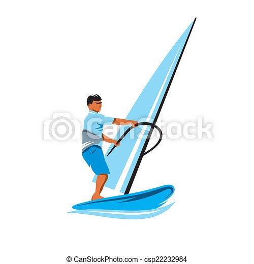 Windsurfing Vector Sign Man In Splashes Of
