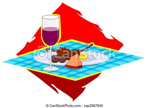 wine and dishes on a table - csp3367640