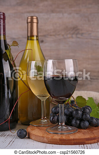 wine and grapes - csp21560726