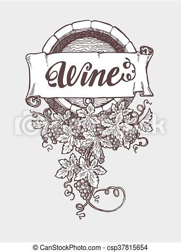 Wine and winemaking vintage vector barrel - csp37815654