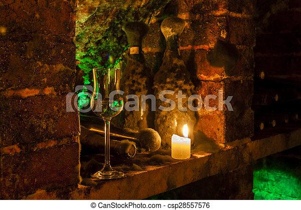 wine archive of wine cellar in Velka Trna, Tokaj wine region, Slovakia - csp28557576